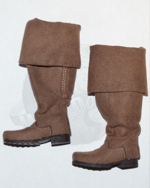 Third Party Pirates of the Carribean Jack Sparrow: Tall Cloth Boots With Peg Inserts (Brown)