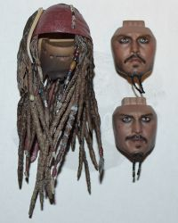 Third Party Pirates of the Carribean Jack Sparrow: Headsculpt With Two Facial Expressions & Hairpiece