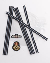 Alert Line WWII Royal Air Force Fighter Pilot: Military Rank Cuff Ribbons With Two Patches