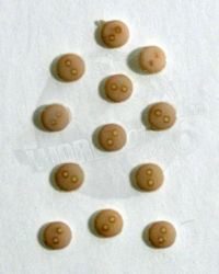 Unknown Manufacturer Twelve 1/6 Scale Buttons (Tan)