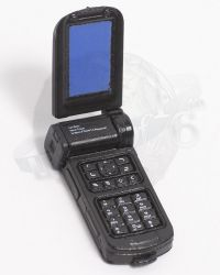 Flip Top Cellular Phone (Black With Blue Screen)