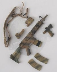 Flagset Toys US 75th Ranger Regiment In Afghanistan Revenge Team Member: M4 Rilfe With 3 Point Sling, Magazines x 3, Sight, PEQ 15 & Silencer & Foregrip With Light