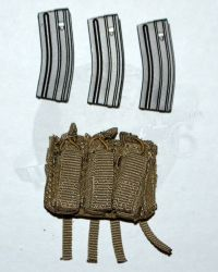 "Soldier Story Iraq Special Operations Forces ""ISOF"": Triple M4/9mm Molle Magazine Pouch With Three Magazines (Tan)"