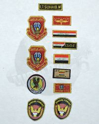 "Soldier Story Iraq Special Operations Forces ""ISOF"": ISOF Embroidered Patch Set Including Velcro Name, Flag (Long), Flag (Standard), CT Round, Gold Division, SF, Wing, Commando School & Unit Patches"
