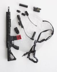 Very Hot Toys The Last No More: HK416 D14.5RS RAHG Hand Guard, Front Grip, Supressor Holographic Sight Advanced TargetPointer Illuminator Aiming Light & One Point Sling